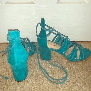 NWOT Nine West suede ankle  wrap heel
